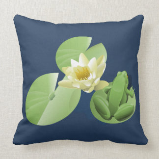 Little Green Frog Sitting on a Lily Pad Throw Pillow