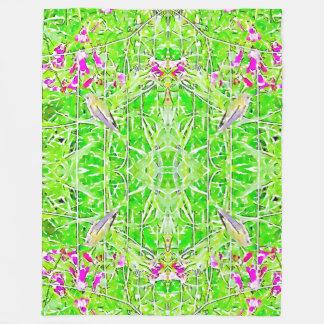 Little green hummingbird  and purple flowers fleece blanket