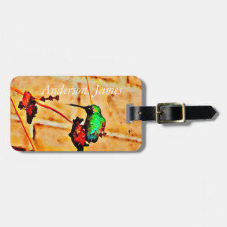 Little green hummingbird luggage tag