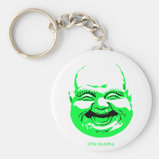 little green laughing-buddha basic round button keychain