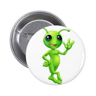 Little green man alien pinback button