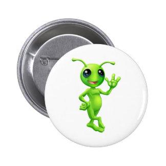Little green man alien pinback buttons
