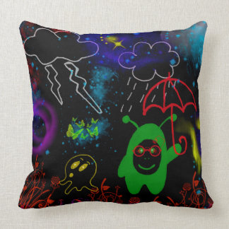 Little Green Man with Red Umbrella Throw Pillow