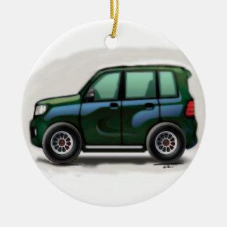 Little Green SUV Four Wheel Ceramic Ornament