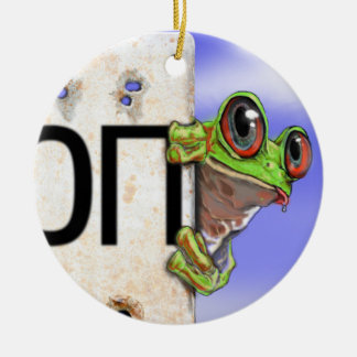 Little Green Tree Frog Ceramic Ornament