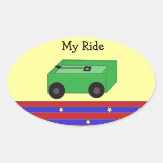 LIttle Green Wagon Oval Sticker