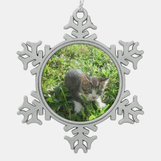 Little Grey Boy Pewter Snowflake Ornament