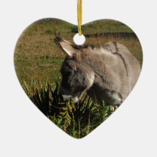 Little grey Donkey w / wildflowers Ceramic Ornament