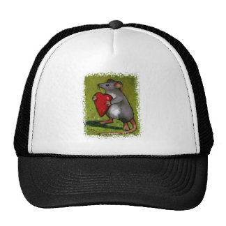 Little Grey Mouse Holding Red Heart: Oil Pastel Trucker Hat