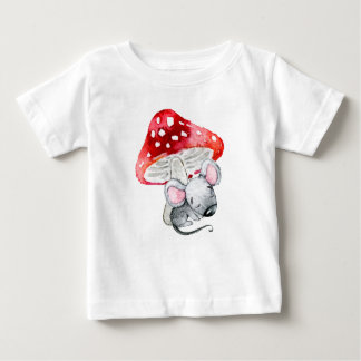 Little Grey Sleeping Mouse Under Red Mushroom Baby T-Shirt