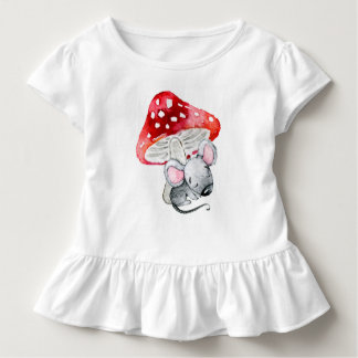 Little Grey Sleeping Mouse Under Red Mushroom Toddler T-shirt