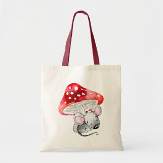 Little Grey Sleeping Mouse Under Red Mushroom Tote Bag