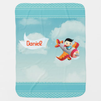 Little Guy Flying a Plane with Name Banner Baby Blanket