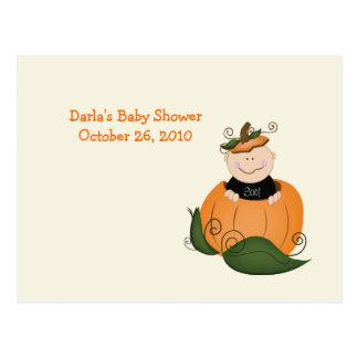 Little Halloween Pumpkin Baby Shower Advice Cards Postcard