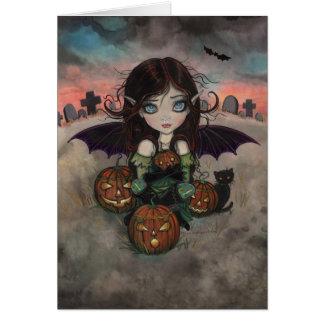 Little Halloween Vampire Fairy and Jack-O-Lanterns Card