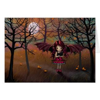 Little Halloween Vampire Girl with Black Cat Card