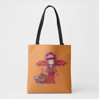 LIttle Halloween Vampire with Kitty Cat Tote Bag