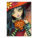 Little Halloween Witch Fantasy Art Greeting Card