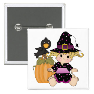 Little Halloween witch with black purple dress 2 Inch Square Button