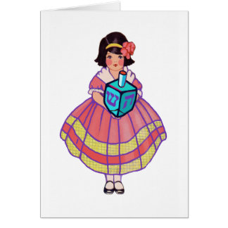 Little Hanukkah Girl with Big Dreidel Card
