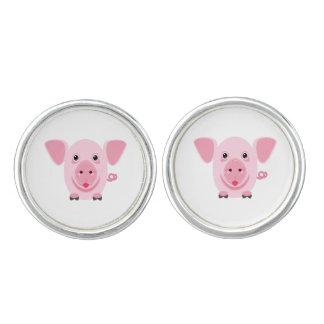 Little happy cute pink pig cufflinks