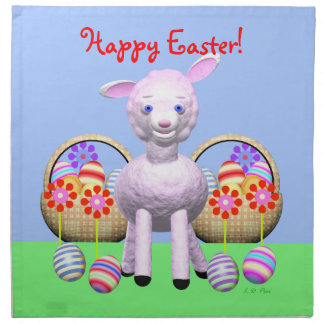 Little Happy Easter Lamb and Baskets Napkins