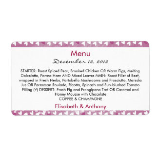 little hearts on purple wedding menu shipping label