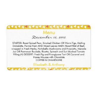 little hearts on yellow wedding menu shipping label