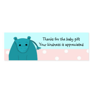 Little Hippo Baby Gift Thank You Mini Business Card