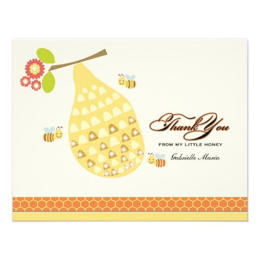 Little Honey Bee Thank You Card Personalized Announcement