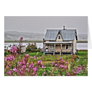 Little house with a field of flowers card