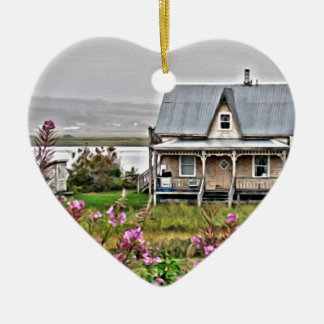Little house with a field of flowers ceramic ornament