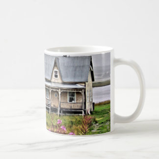 Little house with a field of flowers coffee mug