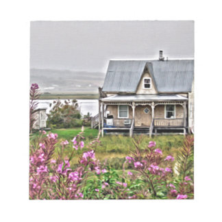 Little house with a field of flowers notepad