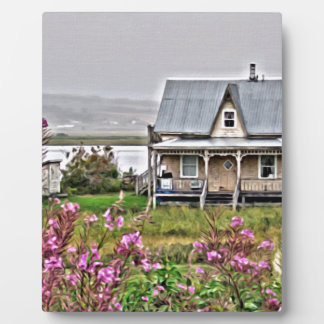Little house with a field of flowers plaque