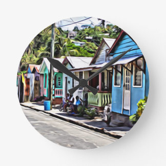 Little houses in Ste-Lucia Round Clock
