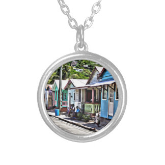 Little houses in Ste-Lucia Silver Plated Necklace