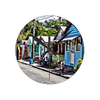 Little houses in Ste-Lucia Wall Clocks