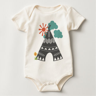 Little Indians-Gray Teepee Organic Baby Creeper