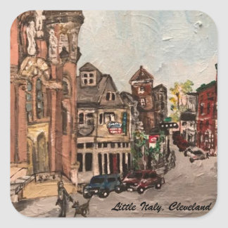 Little Italy, Cleveland Ohio Painting on a Sticker