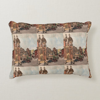 Little Italy, Cleveland Ohio Painting Pillow