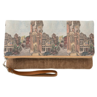 Little Italy, Cleveland Painting Fold Over Clutch