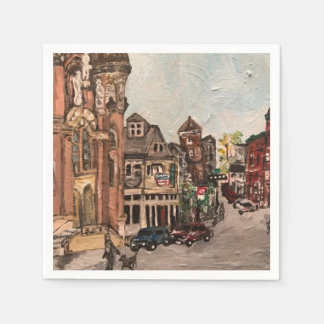 Little Italy, Cleveland Painting on Paper Napkins