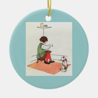 Little Jack Horner  Sat in the corner Round Ceramic Ornament