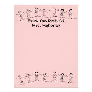 Little Kids Cute Teacher Letterhead Stationery