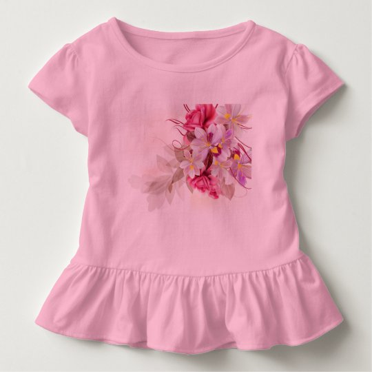 Little kids tshirt with Folk flowers