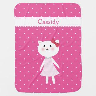 Little Kitten Baby Girl's pink Blanket Stroller Blankets