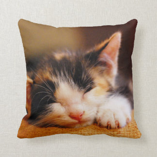 Little Kitty Sleeping Throw Pillow