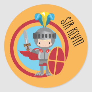 Little Knight in Armor With Red Shield Classic Round Sticker