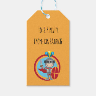 Little Knight in Armor With Red Shield Gift Tags